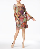MSK Printed Bell-Sleeve Shift Dress