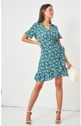 Love Frontrow Ditsy Floral Short Sleeve Mini Wrap Dress | Green