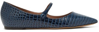 Tabitha Simmons Hermione Crocodile-effect Leather Mary-jane Flats - Womens - Navy