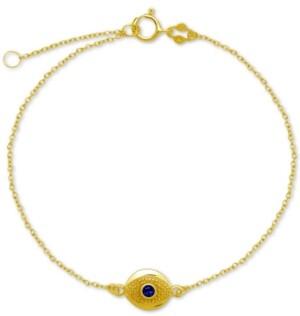 Giani Bernini Blue Glass Evil Eye Ankle Bracelet in Sterling Silver