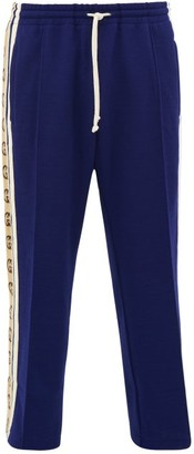 Gucci Logo Stripe Jersey Track Pants - Mens - Blue