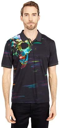 Robert Graham Vanish Short Sleeve Knit Polo (Black) Men's Clothing