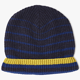 John Lewis Cashmere Striped Beanie Hat, One Size, Navy