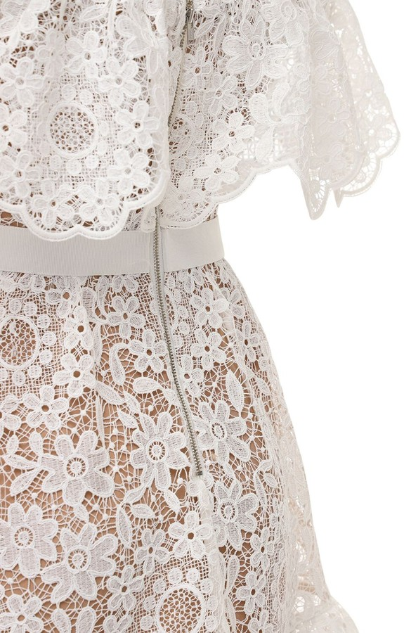 Thumbnail for your product : Self-Portrait Guipure Lace Off-the-shoulder Mini Dress
