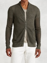 John Varvatos Linen Cotton Open Weave Cardigan