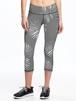 Old Navy Go-Dry Mid-Rise Lattice-Hem Compression Crops for Women