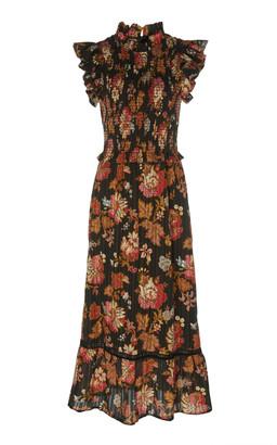 Sea Smocked Floral-Print Cotton-Voile Midi Dress
