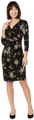 Lauren Ralph Lauren Floral Surplice Jersey Dress (Black/Gold Ochre/Multi) Women's Clothing