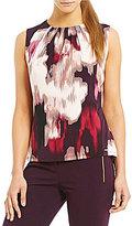 Calvin Klein Watercolor Floral Print Matte Jersey Pleat Neck Shell