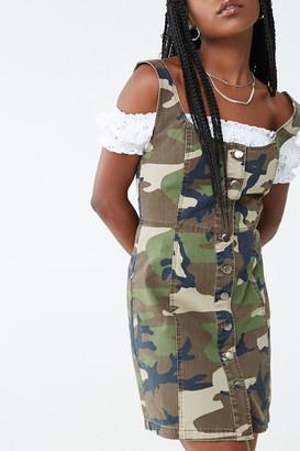 Forever 21 Camo Button-Down Denim Dress