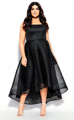 City Chic Diamond Jewel Maxi Dress - black