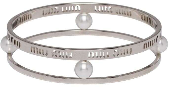 Miu Miu Logo Double Bangle Bracelet