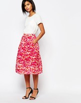 Whistles Organza Midi Skirt in Ink Print
