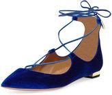 Aquazzura Christy Velvet Lace-Up Flat, Midnight Blue