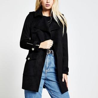 River Island Black suedette pocket front jacket