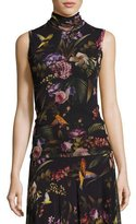 Fuzzi Sleeveless Floral-Print Turtleneck, Black Multi
