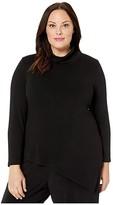 Karen Kane Plus Plus Size Asymmetric Turtleneck Sweater (Black) Women's Clothing