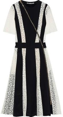 Stella McCartney Ariel Paneled Silk-crepe And Lace Dress