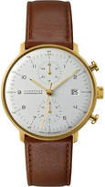 Junghans 027/7800.00 Max Bill stainless steel and leather chronoscope watch