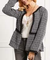 Suzanne Betro Women's Blazers 101BLACK/WHITE - Black & White Plaid Peplum Open Blazer - Women