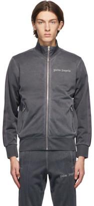 Palm Angels Grey Garment-Dyed Logo Track Jacket