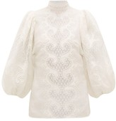 Zimmermann Brightside Embroidered Linen Blouse - Womens - Ivory