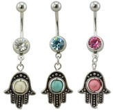 Target Distributed Women's Supreme Jewelry Curved Barbell Belly Ring - Set of 3 Multicolored Belly Rings