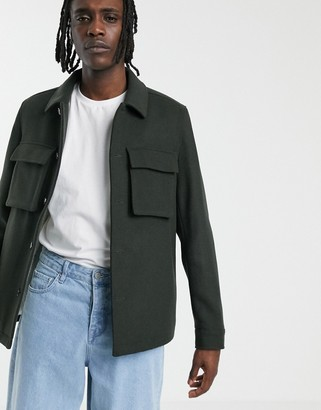 ASOS DESIGN teddy lined wool mix jacket in khaki