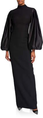 Rasario Satin Balloon-Sleeve Jersey Gown