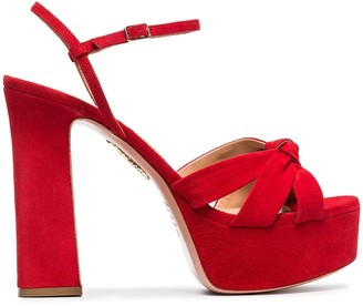Aquazzura red Baba Plateau 125 suede platform sandals