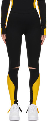 Lourdes Black and Yellow Biathlon Leggings
