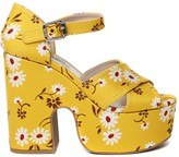 Miu Miu Floral Printed Canvas Sandals