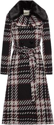 Kate Spade On Pointe Faux Fur-trimmed Belted Checked Wool-blend Coat