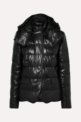 Tom Ford Hooded Quilted Leather Down Jacket - Black