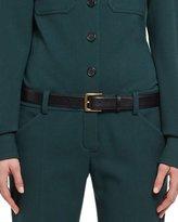 Chloé Calf Leather Skinny Belt, Black/Golden