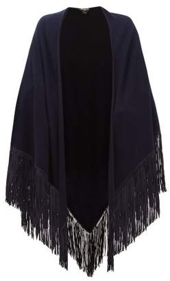 Babjades - Suede-fringed Cashmere Shawl - Womens - Navy