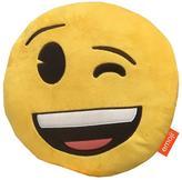 Emoji Round Wink Embroidered Plush Cushion