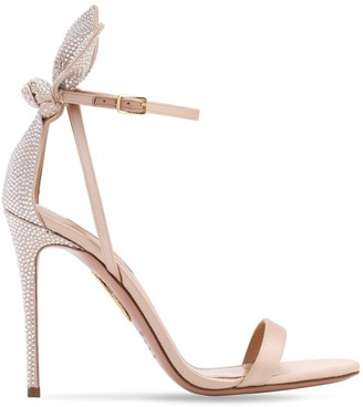 Aquazzura 105mm Bow Tie Embellished Satin Sandals