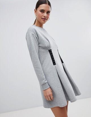 Asos Design Sweat Dress with Hook & Eye Waist Detail-Grey