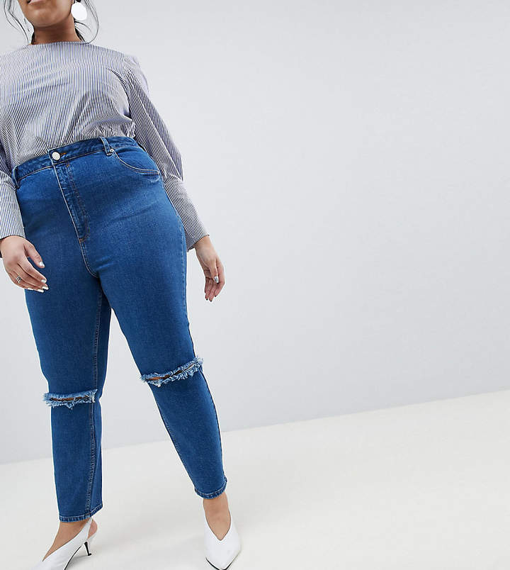 Asos DESIGN Curve Farleigh high waist slim mom jeans in bonnie wash with super wide busted knee
