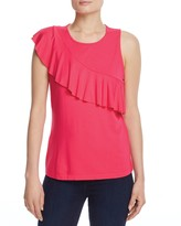 Three Dots Sleeveless Ruffle Top