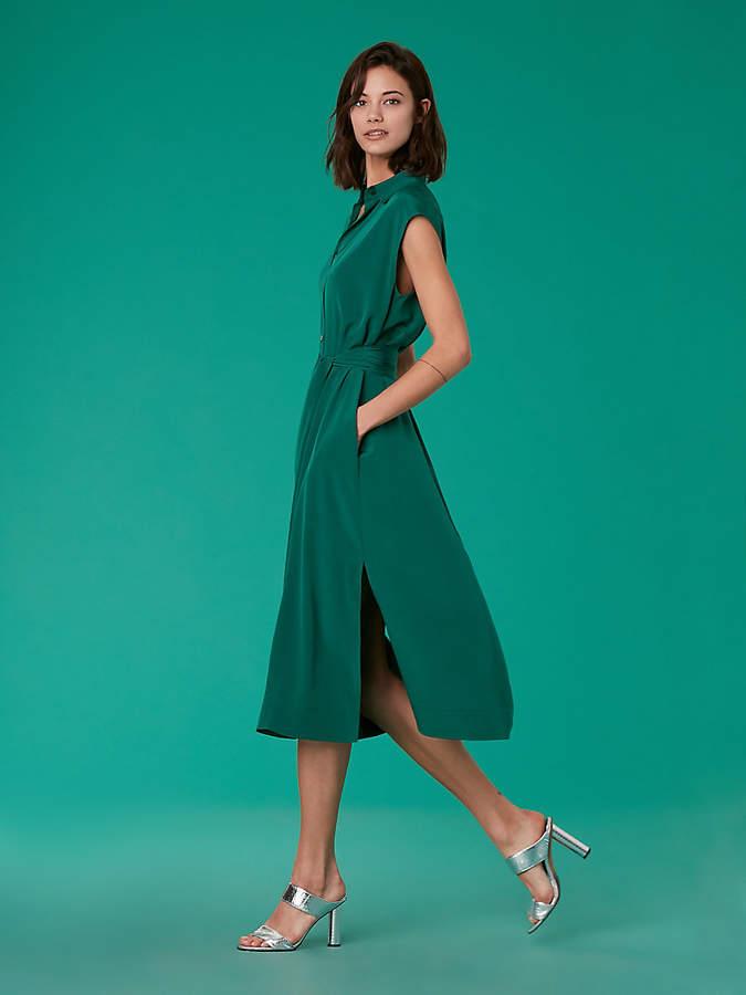 Diane von Furstenberg Sleeveless Belted Shirt Dress