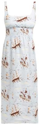 Emilia Wickstead Giovanna Shirred Ship-print Linen Midi Dress - Womens - Blue Print