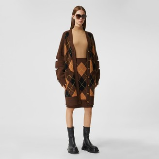 Burberry Argyle Intarsia Wool Cashmere Pencil Skirt