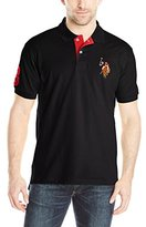 U.S. Polo Assn. Men's Multi Color Logo Solid Pique Polo Shirt