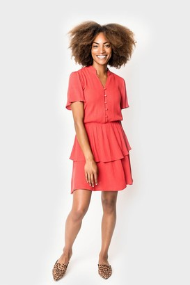 Gibson Button Front Tiered Dress