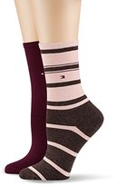 Tommy Hilfiger Women's TH Accent Stripe 2P Calf Socks,pack of 2