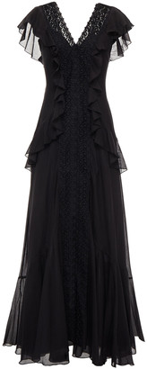 Charo Ruiz Ibiza Lola Ruffled Crocheted Lace And Cotton-blend Voile Maxi Dress