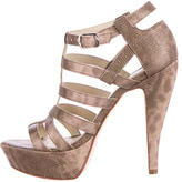 Elizabeth and James Embossed Platform Cage Sandals