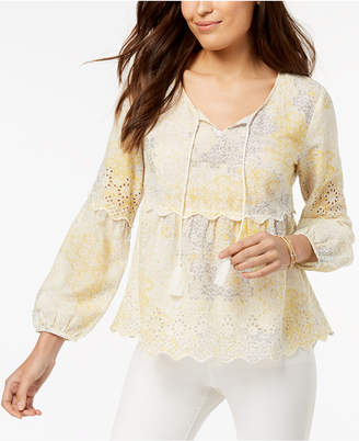 Style&Co. Style & Co Petite Printed Eyelet-Trim Peasant Top, Created for Macy's